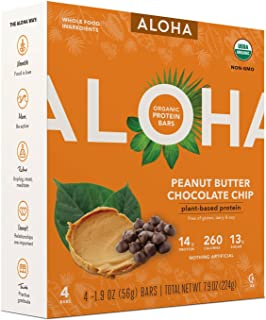 Aloha Peanut Butter Chocolate Chip Plant-Based Protein Bars 1.9ozx4( total 7.9oz)
