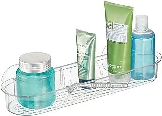 iDesign Plastic Bathroom Suction Holder, Shower Organizer Shelf Basket for Sponges, Scrubbers, Soap, Shampoo, Conditioner, 15