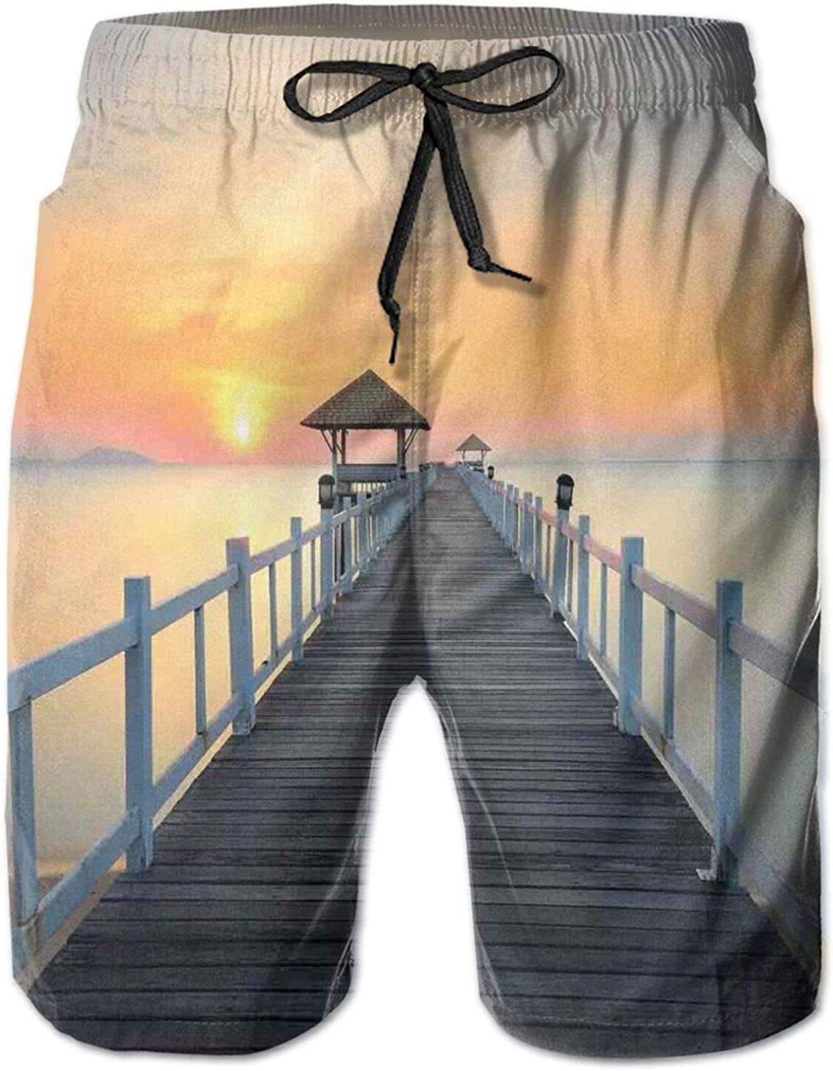 Long Exposure Deck Path by Sea Shore with Horizon Sunset Landscape Mens Swim Trucks Shorts with Mesh Lining,M