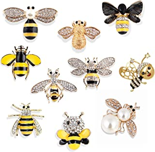 Set of 10 Fashion Enamel Crystal Rhinestones Bee Themed Brooch Pin Jewelry Lapel Pins for Clothes Collar Dress Scarf Bag Decoration