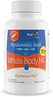 Hyalogic Hyaluronic Acid 120 mg delayed release capsules   Combo Formula w/Glucosamine MSM   Support Healthy Joints, Eyes ...