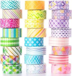 YUBX Washi Tape, 24 Rouleaux Masking Tape Pastel 10mm de Large 3m de long Ruban Adhésif Décoratif, Japonais en Washi, Ruba...