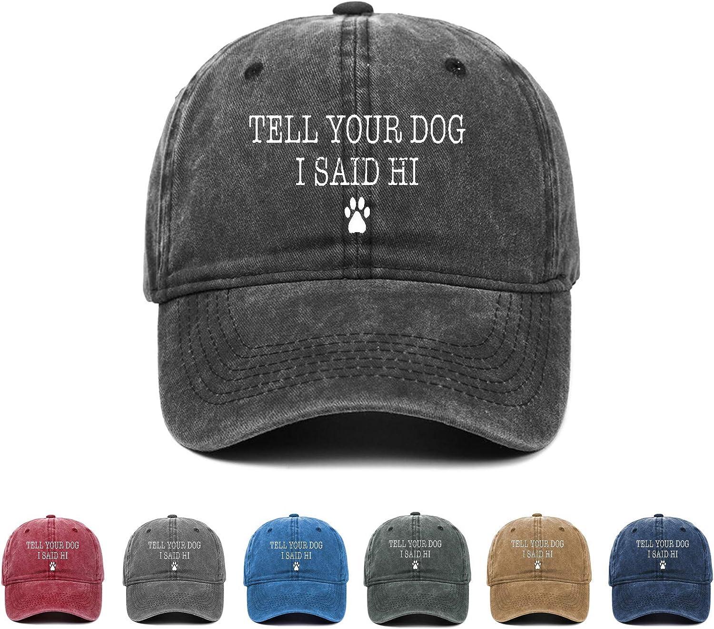 Kritin Tell Your Dog I Said Hi Hat, Dog Lover Adjustable Baseball Cap Unisex Trucker Cap Dad Hat