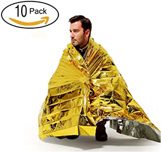OUTDLIFE 10 Pack Extra Large Emergency Survival Space Mylar Blanket - Essentials for Marathons, Camping, Outdoors and Natural Disaster