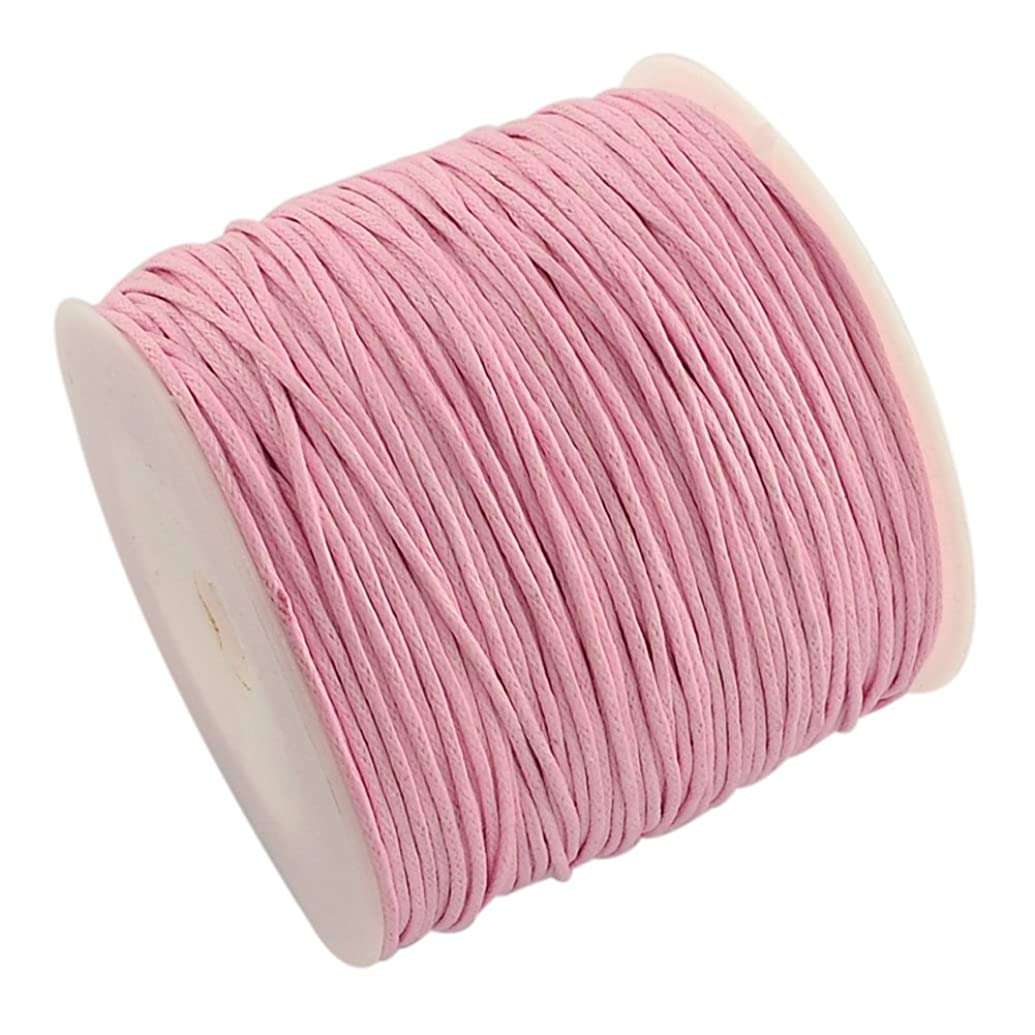NBEADS 100yards/roll 1mm Wide Waxed Cotton Beading Cords Thread for Jewelry Making Crafting Pink