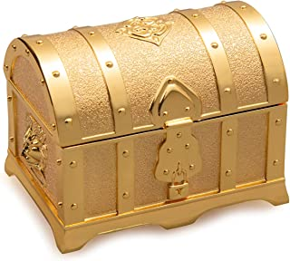 Feyarl Retro Light Gold Box Jewelry Trinket Treasure Box Rectangle Box Metallic Finished Box (Small)