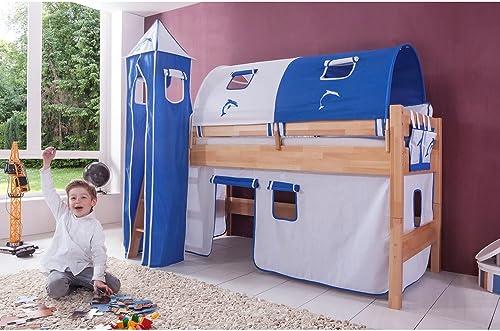 Relita Halbhohes Spielbett Kelila mit 4 tlg. Stoff-Set Weiß blau, Buche massiv natur lackiert
