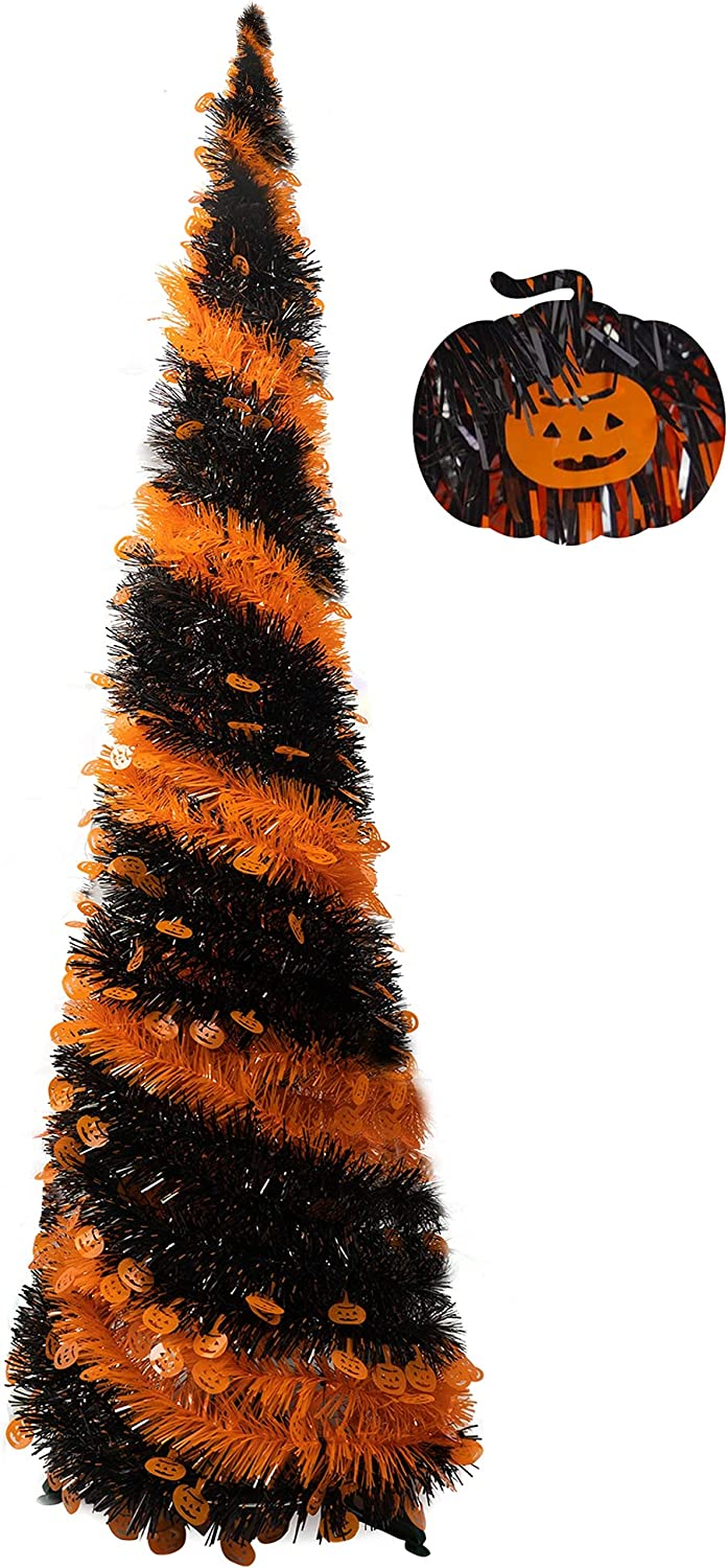 FUNPENY Halloween Christmas Tinsel Tree, 5ft Collapsible Pop Up Pencil Tree with Stand for Halloween Xmas Decorations, Indoors Outdoors Home Decor, Holiday Party Supplies (Black & Orange)