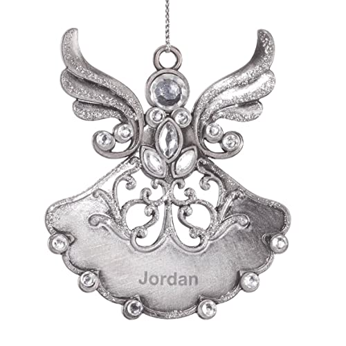 Crystal Crystal Elements Heart Engraved Angel Ornament
