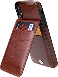 iPhone XR Case Wallet with Credit Card Holder, KIHUWEY Premium Leather Magnetic Clasp Kickstand Heavy Duty Protective Cover for iPhone XR 6.1 Inch(Brown)