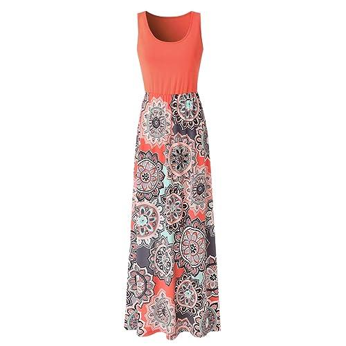 36e4c109558 Zattcas Womens Summer Contrast Sleeveless Tank Top Floral Print Maxi Dress