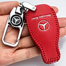 Wangyunheng for Mercedes Benz Key Fob Cover Case,Genuine Leather Key Case Cover Protector Compatible with Mercedes Benz C S M E CLK CLS G Class Keyless Smart Key Fob Key Holder.