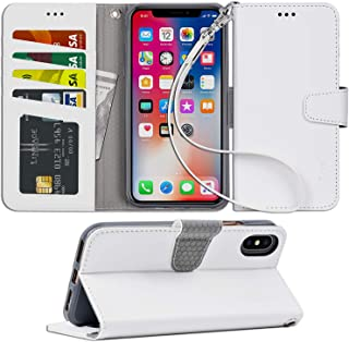 Arae Case for iPhone X/Xs, Premium PU Leather Wallet Case [Wrist Straps] Flip Folio [Kickstand Feature] with ID&Credit Car...