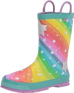 حذاء المطر المطاطي المطبوع مقاوم للماء للفتيات من ويسترن تشيف مع مقابض سهلة الارتداء