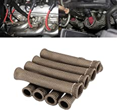 Spark Plug Protect Boot 1800 Degree Heat Shield Thermal Protection Insulator Sleeve Spark Plug Wire Boots 6 inch for Car Truck (Pack of 8)(Titanium)