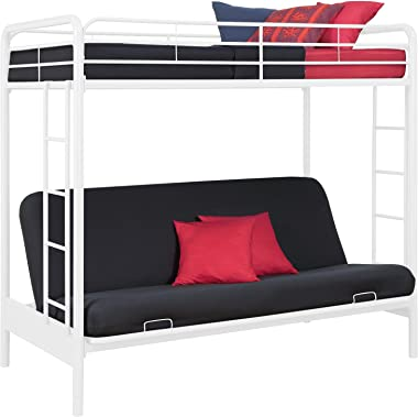 DHP Twin-Over-Futon Convertible Couch and Bed with Metal Frame and Ladder - White