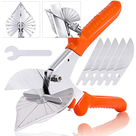 GARTOL Lengthen Multi Angle Miter Shear Cutter Adjustable at 45 To 135 Degree with Replacement blades Multifunctional Trunking Shears For Vinyl Wood Molding Trim