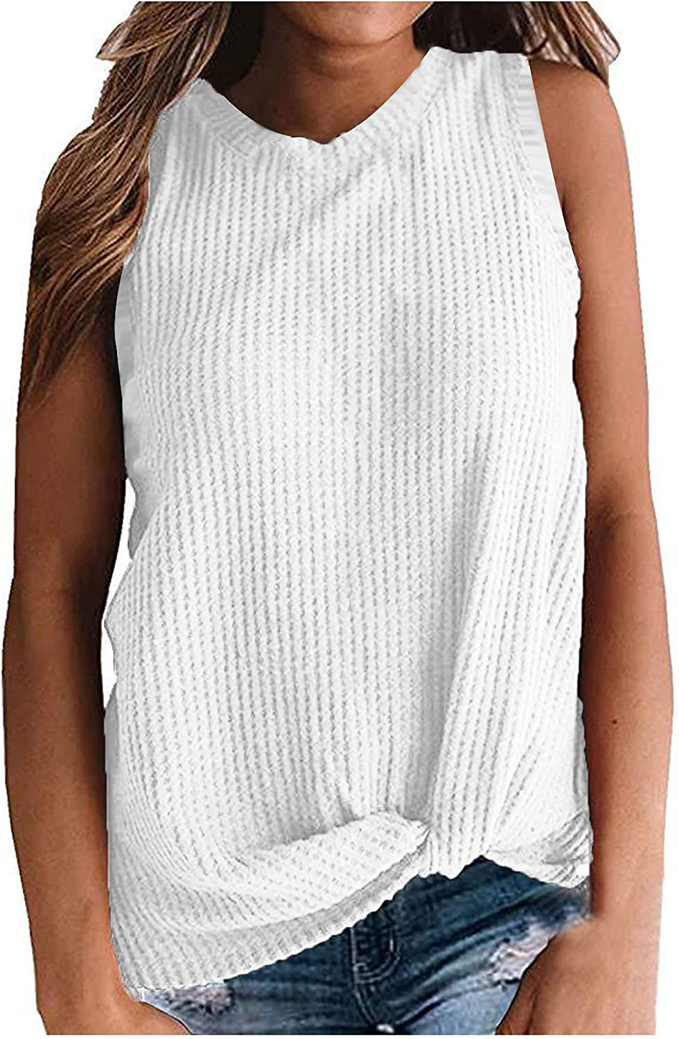 Juniors Knotted Casual Crewneck Sleeveless T-Shirt Vest Multicolor Solid Color Top