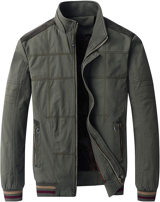 Men's Cotton Military Fleece Jacket Outdoor Bomber Cargo Jackets