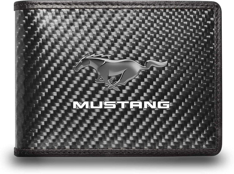 iPick Image for - Ford Mustang Black Real Carbon Fiber Leather RFID Blocking Bi-fold Wallet