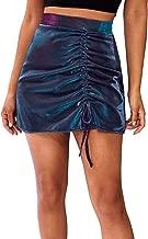 Verdusa Women's High Waist Drawstring Ruched Shiny Glitter Party Mini Skirt