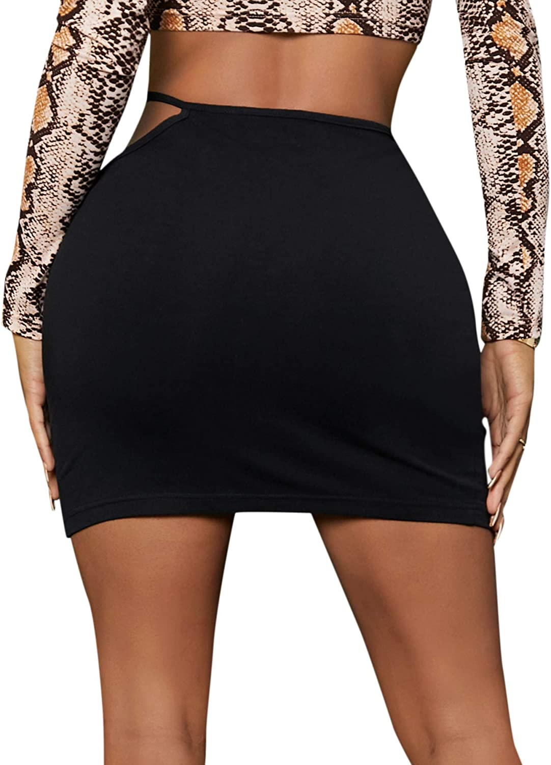 SheIn Women's Cut Out High Waist Ruched Solid Bodycon Pencil Short Skirt