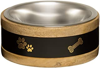 Loving Pets Black Label Ring Dog Bowl, Wood, 2 quart