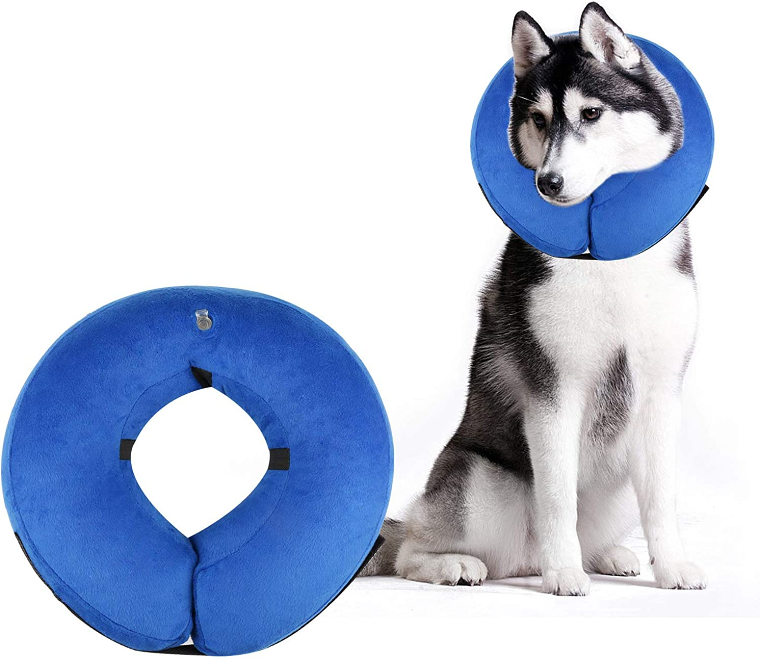 AOFU Dog Cone Collar Soft  Inflatable Dog Collars for After Surgery  Adjustable Predective Inflatable Dog Collar for Small Medium Large Dogs  Large(bluee)