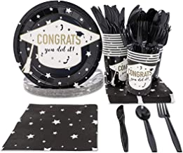 Graduation Party Supplies – Serves 24 – Includes Plates, Knives, Spoons, Forks, Cups and Napkins. Perfect Patriotic Party Pack for Grad Themed Parties.