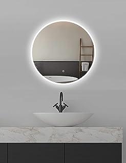 ApeJoy Miroir de salle de bain à LED rond 60cm à éclairage blanc froid miroir mural avec capteur tactile Classe d'efficaci...