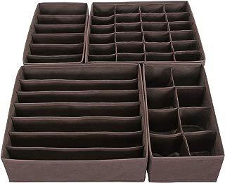SONGMICS Closet Underwear Organizer Drawer Divider for Bras Panties Socks Ties, Set of 4, Brown URUS04K