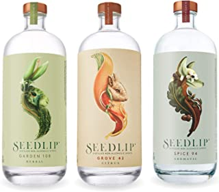 Seedlip Distilled Non-Alcoholic Spirits Sampler (3 Bottles) Grove 42, Spice 94, Garden 108 - 700 ML Each