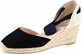 """U-lite Women's 2.5"""" Suede Calfskin Wedges Sandals, Cap-Toe Ankle-Wrap Strap Pompom Shoes with Pigskin Insole"""