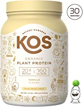 KOS Organic Plant Based Protein Powder – Raw Organic Vegan Protein Blend, 2.5 Pound, 30 Servings (Vanilla)