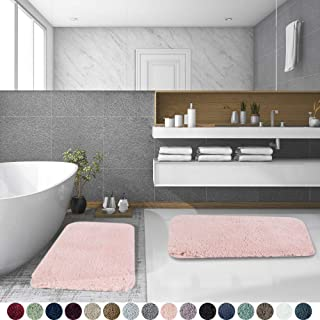 Walensee Shaggy 2 Piece Bath Rug Set, (20 x 32, 2 Pack Set, Blush) Bathroom Rug Set Bath Mats for Bathroom Machine Wash/Dry Absorbent Bathroom Mats Set Non Slip Plush Rug Set for Shower