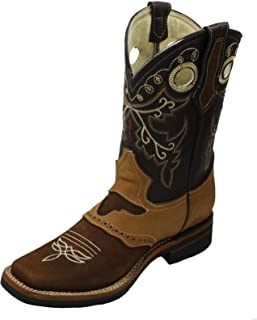 Men Genuine Cowhide Leather Cowboy Rodeo Western Boots