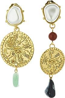 Oscar de la Renta Coin & Semi Precious Stone Earrings