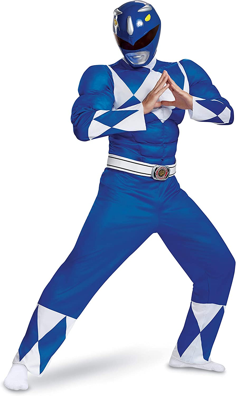 Disguise Men's Plus Size Blue Ranger Classic Muscle Adult Costume ...