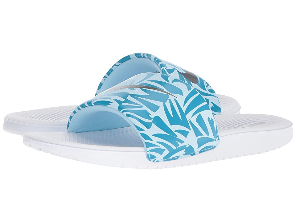 Nike Kids Slide Print (Little Kid/Big Kid) (White/Anthracite/Neo Turquoise/Cobalt Tint) Girls Shoes