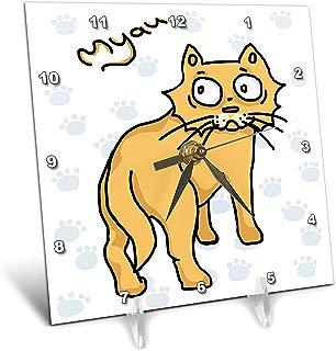 3dRose Warya - Animals. - Ginger Cat Say Meou - 6x6 Desk Clock (dc_299938_1)