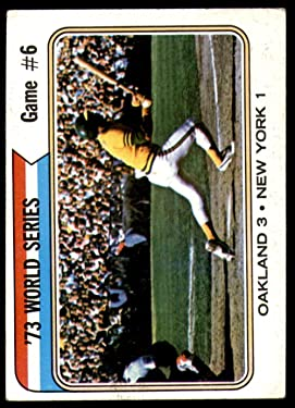 1974 Topps Regular (Baseball) card#477 W.S.Game 6 - A's 3 NY 1 w/Jackson of the - Undefined - Grade Excellent