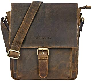 STILORD 'Nevio' Men's Leather Shoulder Bag Small Messenger Bag Elegant Vintage Design Shoulder Bag for 10.1 Inch Tablet iPad Genuine Leather