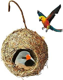 IronBuddy Handwoven Straw Bird House Nest Round Grass Hanging Bird Cage Nest House Decor Bird House for Indoor Outdoor Garden