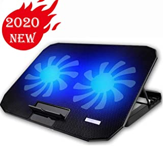 """KEROLFFU 10-15.6"""" Office Laptop Cooling Pad (Big 2Fans Super Quiet, Double Sides Built-in USB Line, Back Feet Stand)"""