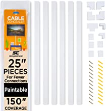 Cable Concealer On-Wall Cord Cover Raceway Kit - Cable Management System to Hide Cables, Cords, or Wires - Cord Organizer ...