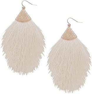 Humble Chic Fringe Tassel Statement Dangle Earrings - Lightweight Long Feather Drops for Women