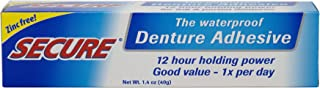 Secure Waterproof Denture Adhesive – Zinc Free – Extra Strong Hold For Upper,..