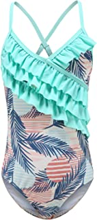 Girls One Piece Bathing Suit One Shoulder Ruffle Swimsuits Fashionable Floral Swimwear 3-10 Years