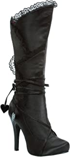 4 Inch Satin Knee High Boots Victorian Lace With Hearts Womens Sexy Boots
