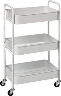 CAXXA 3-Tier Rolling Metal Storage Organizer - Mobile Utility Cart with Caster Wheels, White